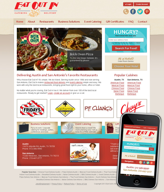 Web Site Design for Eat Out In