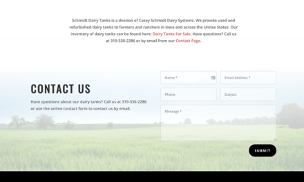 Product Listing Site for Schmidt Dairy Tanks of Iowa