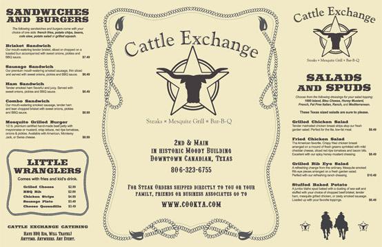 Cattle Exchange Menu