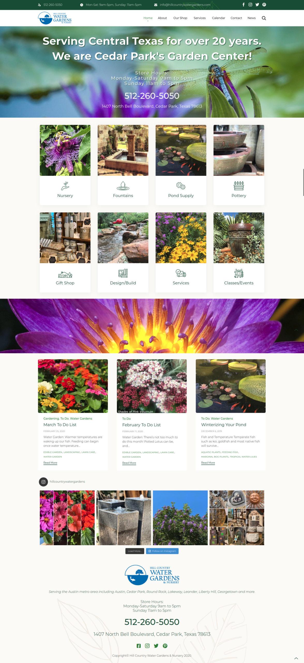 hill country website screenshot