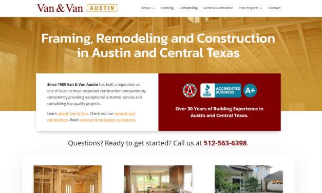 Updated Web Design for Van & Van Construction