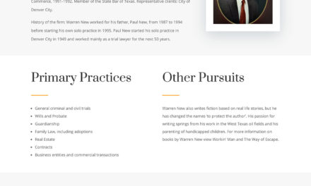 Website update for Attorney Warren New in Denver City